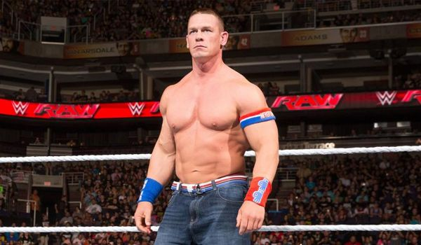 Wrester-turned-actor John Cena circling Duke Nukem (Credit: WWE)